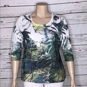 Coldwater Creek NWT XL 16 Sequin Printed Knit Top